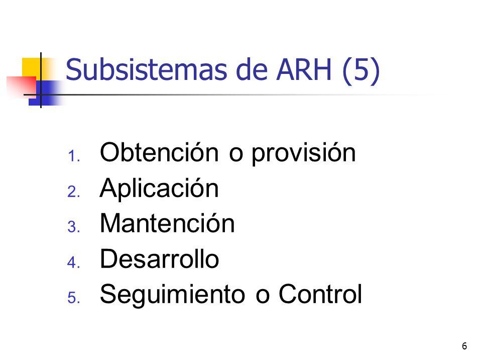 Subsistemas de ARH (5) Obtención o provisión Aplicación Mantención