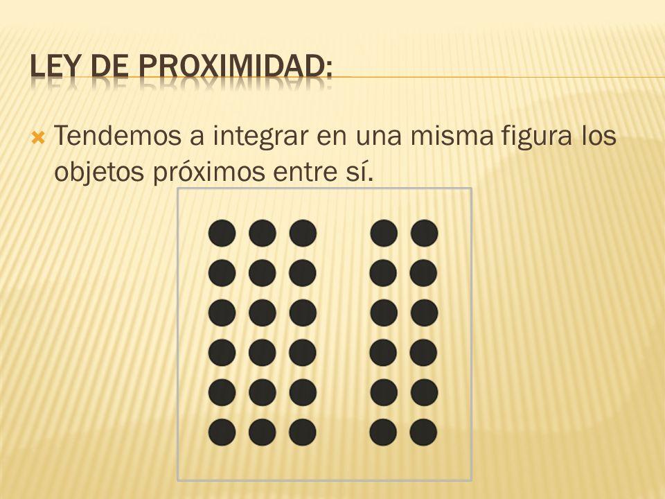 Ley de proximidad: Tendemos a integrar en una misma figura los objetos próximos entre sí.