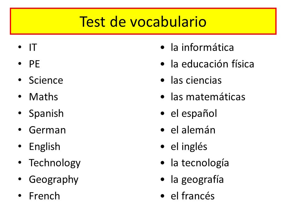 Test de vocabulario IT PE Science Maths Spanish German English