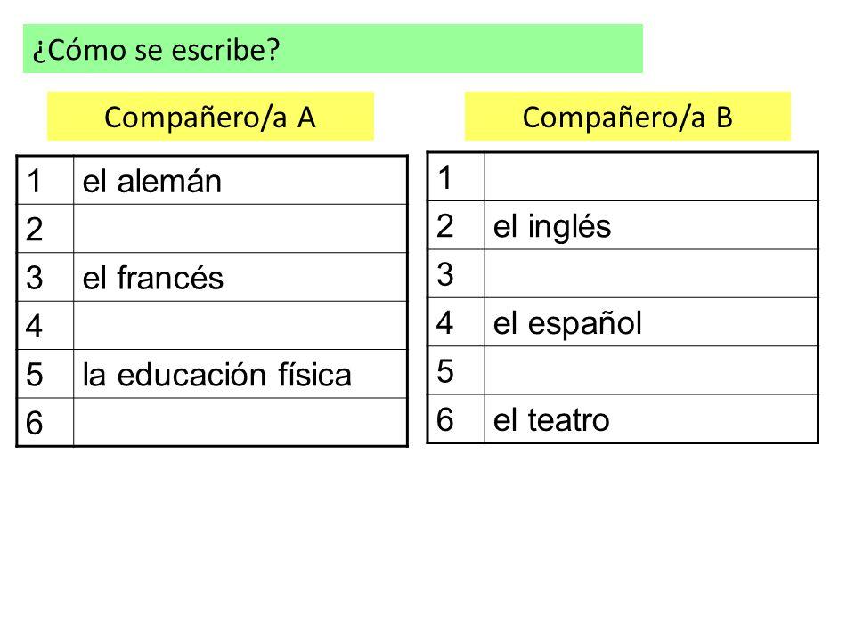 ¿Cómo se escribe Compañero/a A Compañero/a B 1 el alemán 2 3