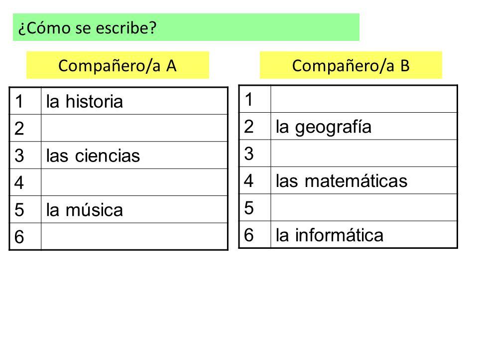 ¿Cómo se escribe Compañero/a A. Compañero/a B. 1. la historia. 2. 3. las ciencias. 4. 5. la música.