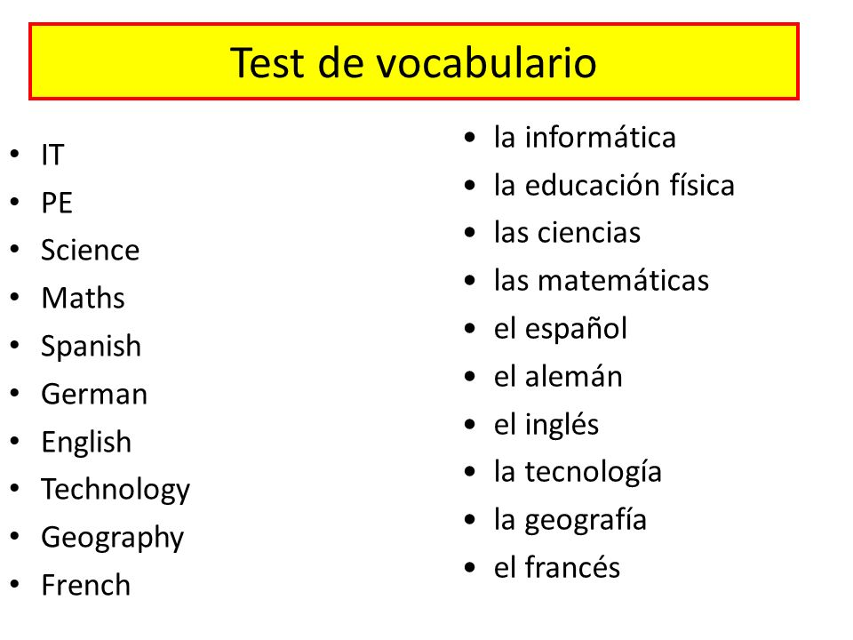 Test de vocabulario la informática IT la educación física PE