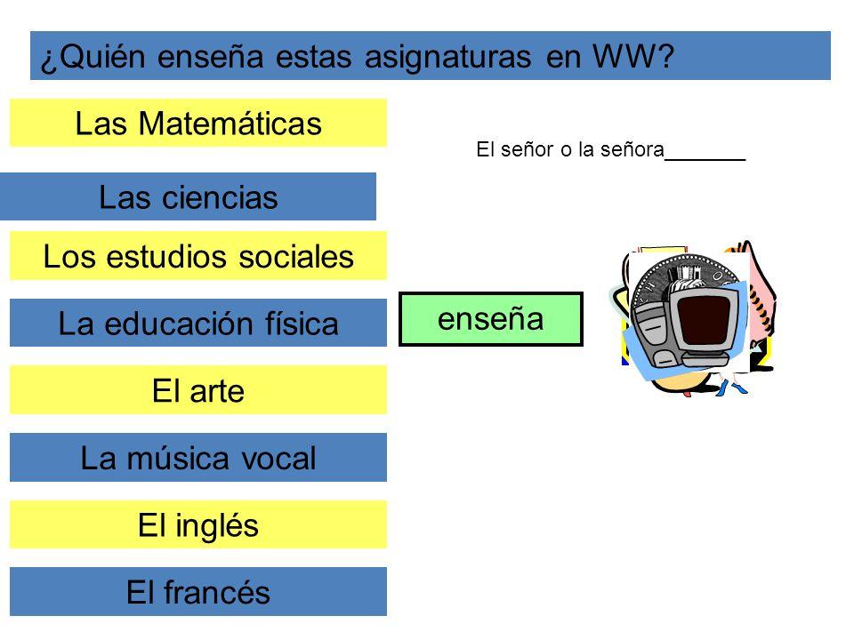 ¿Quién enseña estas asignaturas en WW