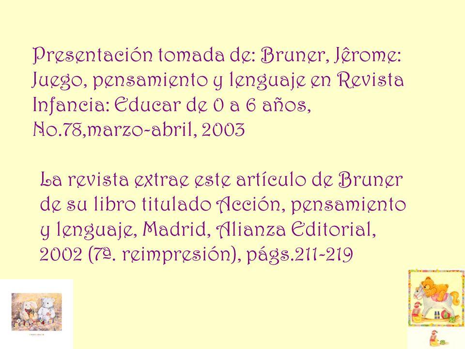 Presentación tomada de: Bruner, Jêrome: Juego, pensamiento y lenguaje en Revista Infancia: Educar de 0 a 6 años, No.78,marzo-abril, 2003