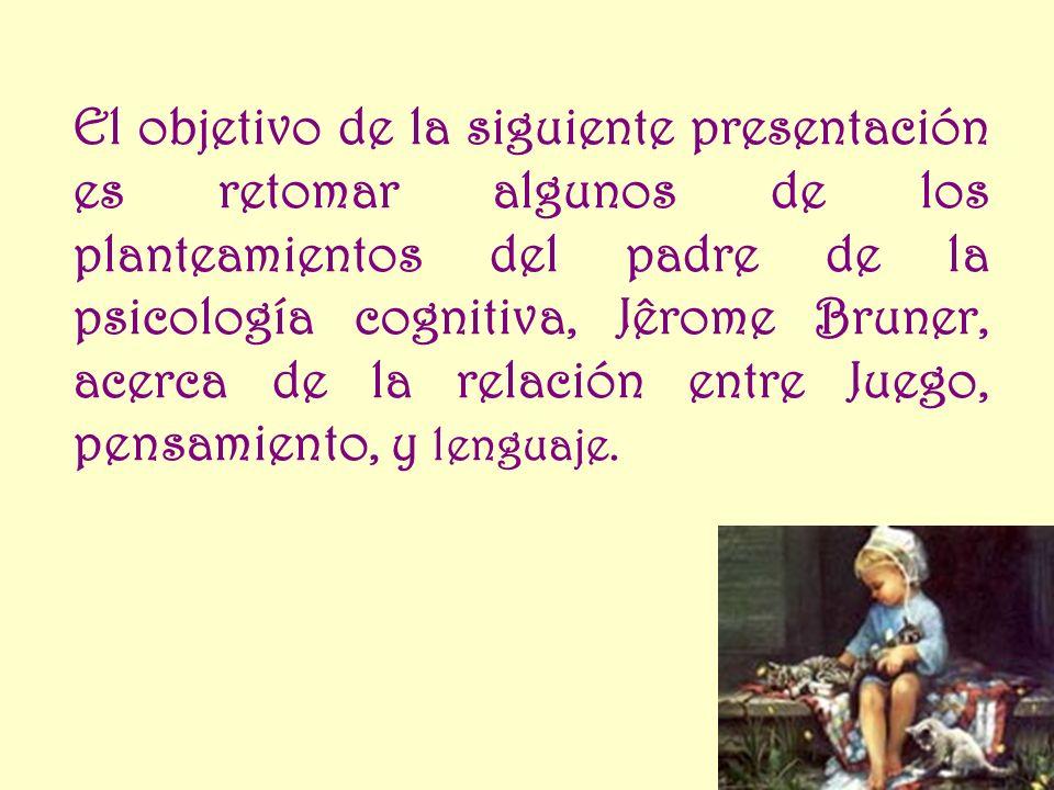 El objetivo de la siguiente presentación es retomar algunos de los planteamientos del padre de la psicología cognitiva, Jêrome Bruner, acerca de la relación entre Juego, pensamiento, y lenguaje.