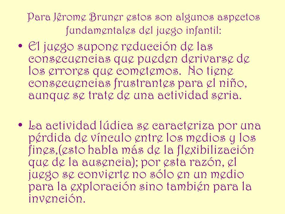 Para Jêrome Bruner estos son algunos aspectos fundamentales del juego infantil: