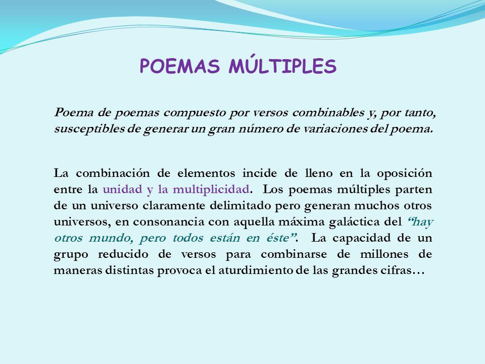 POEMAS MÚLTIPLESPoema de poemas compuesto por versos combinables y, por tanto, susceptibles de generar un gran número de variaciones del poema.