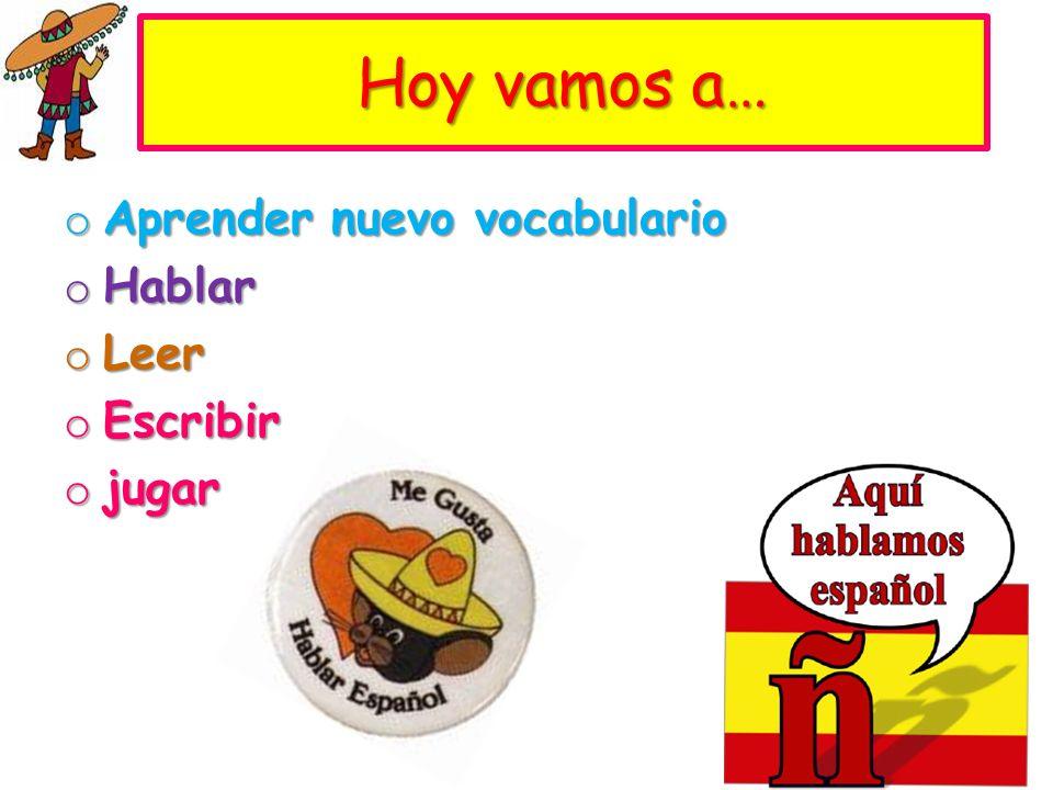 Hoy vamos a… Aprender nuevo vocabulario Hablar Leer Escribir jugar