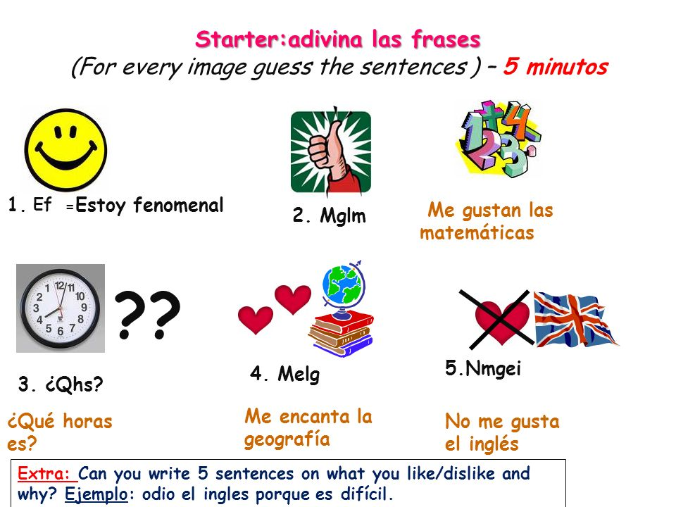 Starter:adivina las frases (For every image guess the sentences ) – 5 minutos