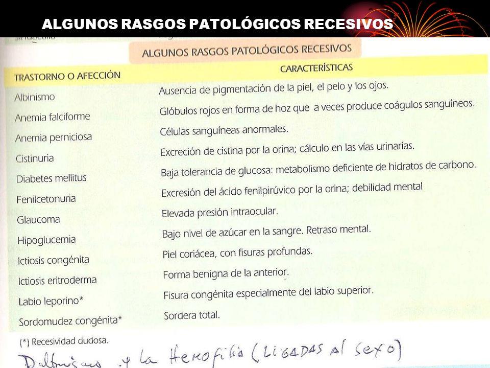 ALGUNOS RASGOS PATOLÓGICOS RECESIVOS