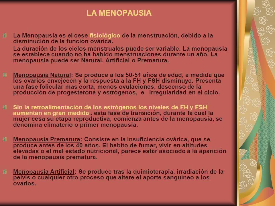 LA MENOPAUSIALa Menopausia es el cese fisiológico de la menstruación, debido a la disminución de la función ovárica.