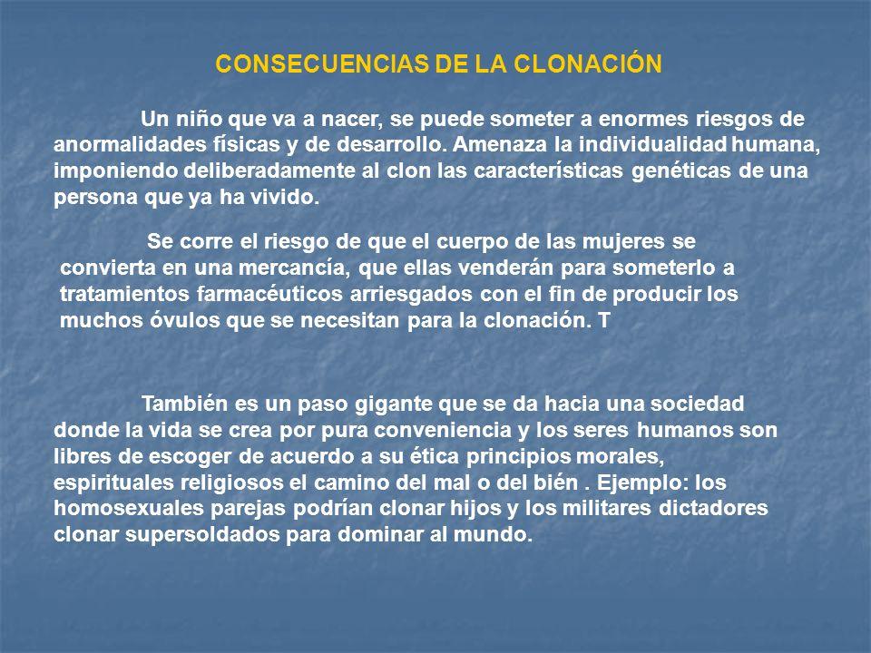 CONSECUENCIAS DE LA CLONACIÓN