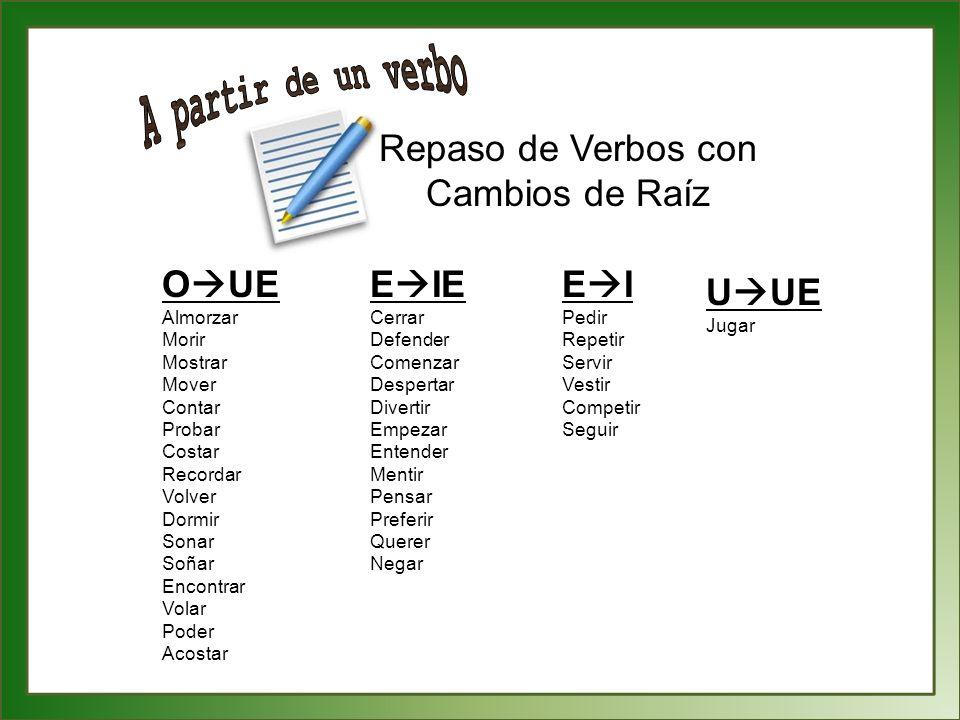 A partir de un verbo Repaso de Verbos con Cambios de Raíz OUE EIE