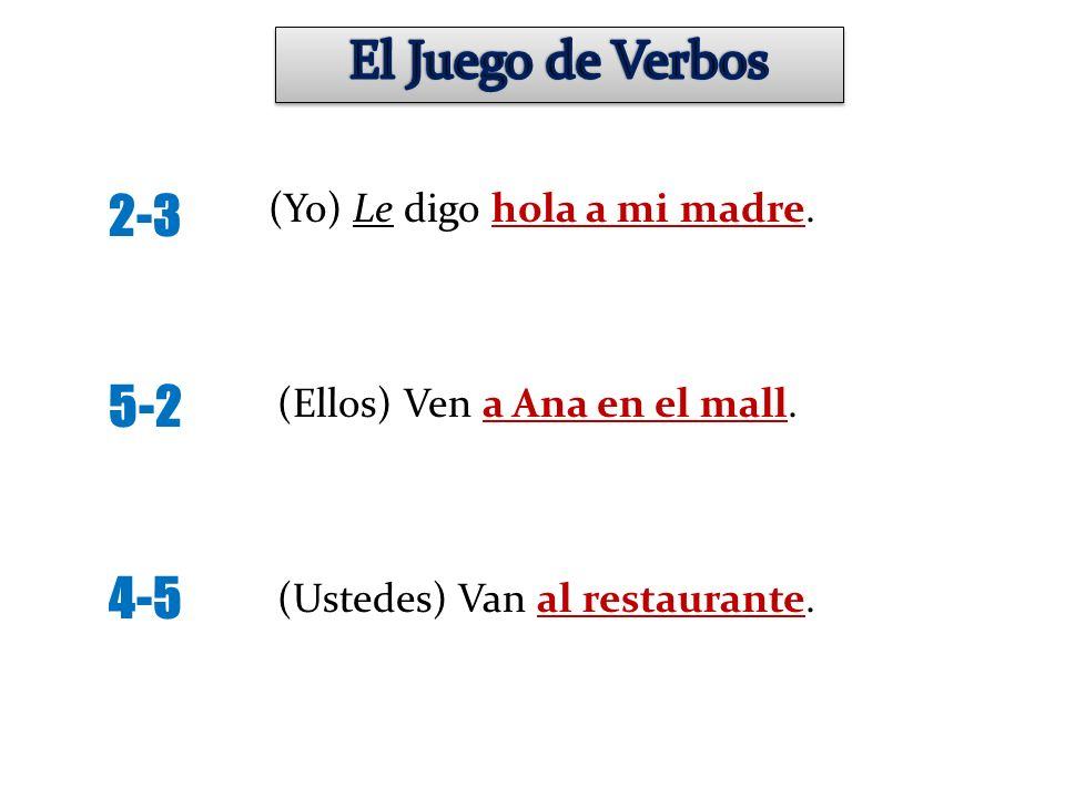 El Juego de Verbos 2-3 5-2 4-5 (Yo) Le digo hola a mi madre.
