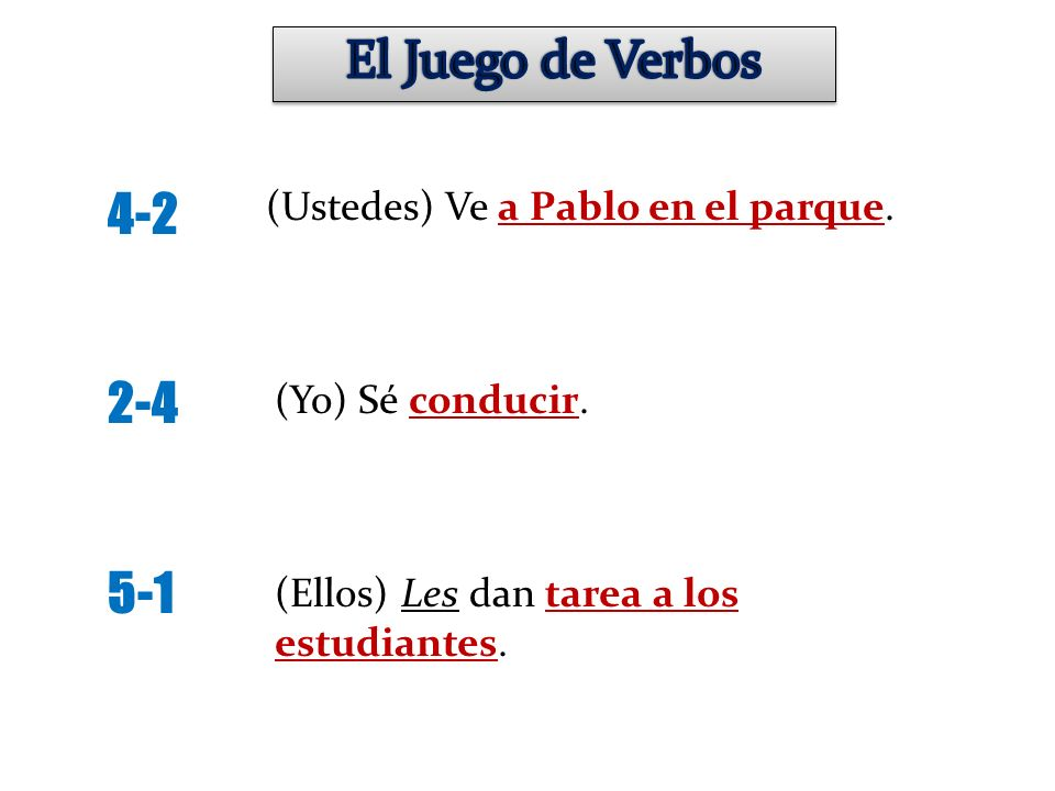 El Juego de Verbos 4-2 2-4 5-1 (Ustedes) Ve a Pablo en el parque.
