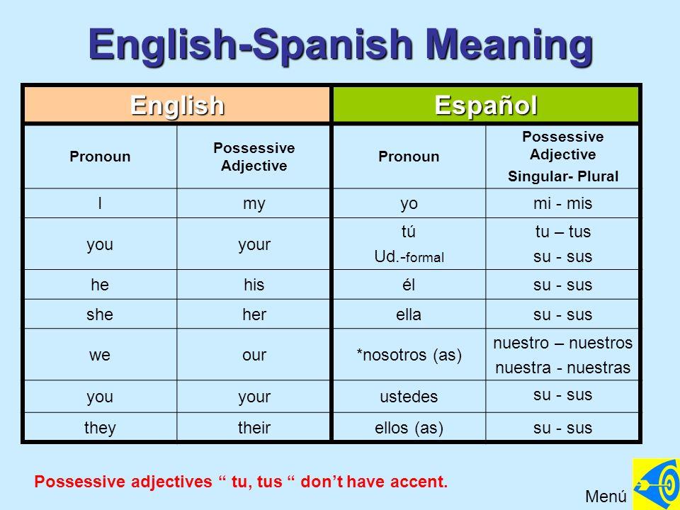English-Spanish Meaning