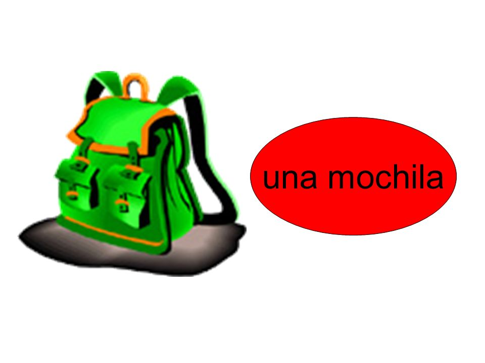 una mochila Remember to ask pupils why the bubble is now red instead of blue – emphasis on gender