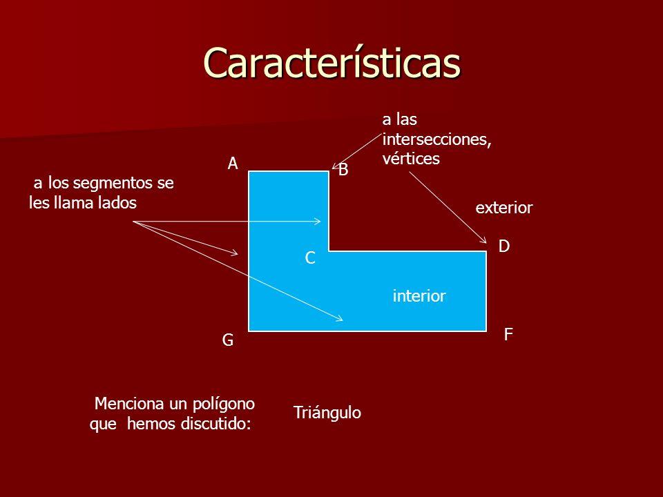 Características a las intersecciones, vértices A B