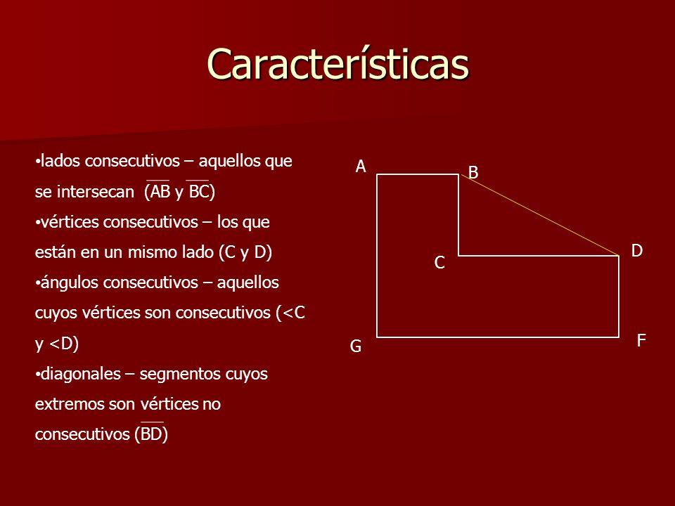 Características lados consecutivos – aquellos que se intersecan (AB y BC) vértices consecutivos – los que están en un mismo lado (C y D)