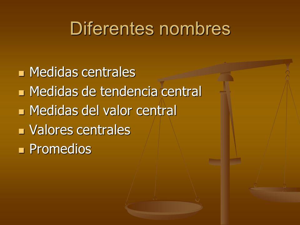 Diferentes nombres Medidas centrales Medidas de tendencia central