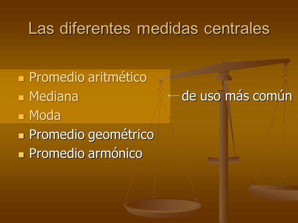 Las diferentes medidas centrales