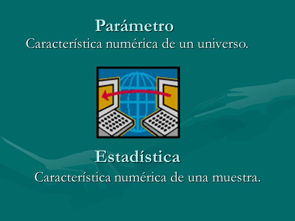 Parámetro Estadística Característica numérica de un universo.