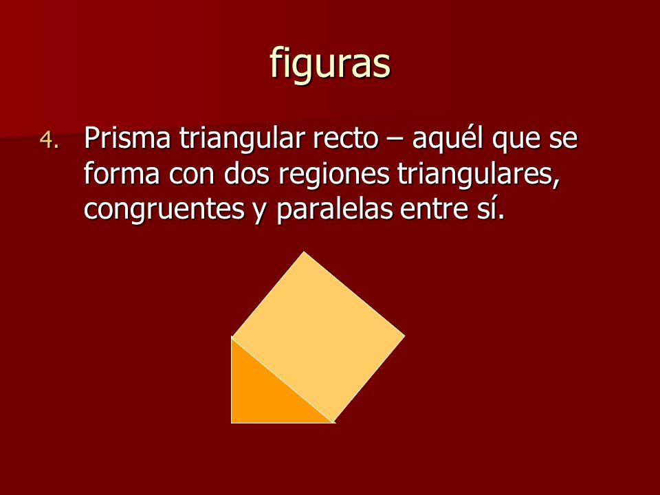 figuras Prisma triangular recto – aquél que se forma con dos regiones triangulares, congruentes y paralelas entre sí.