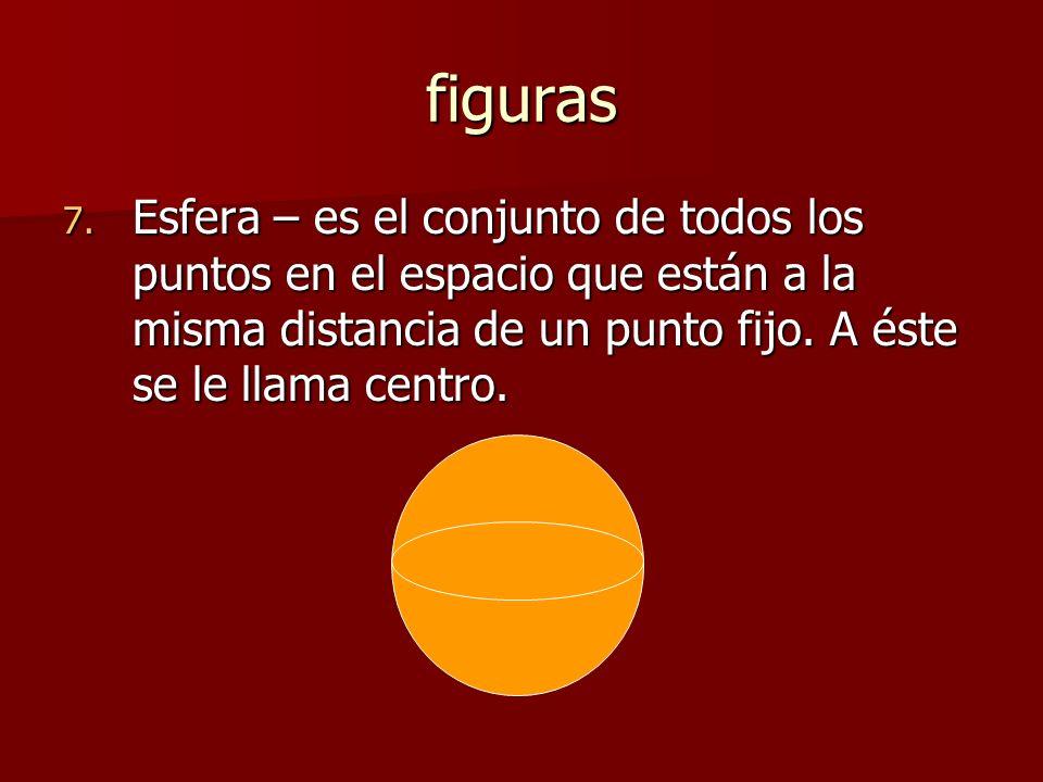 figuras Esfera – es el conjunto de todos los puntos en el espacio que están a la misma distancia de un punto fijo.