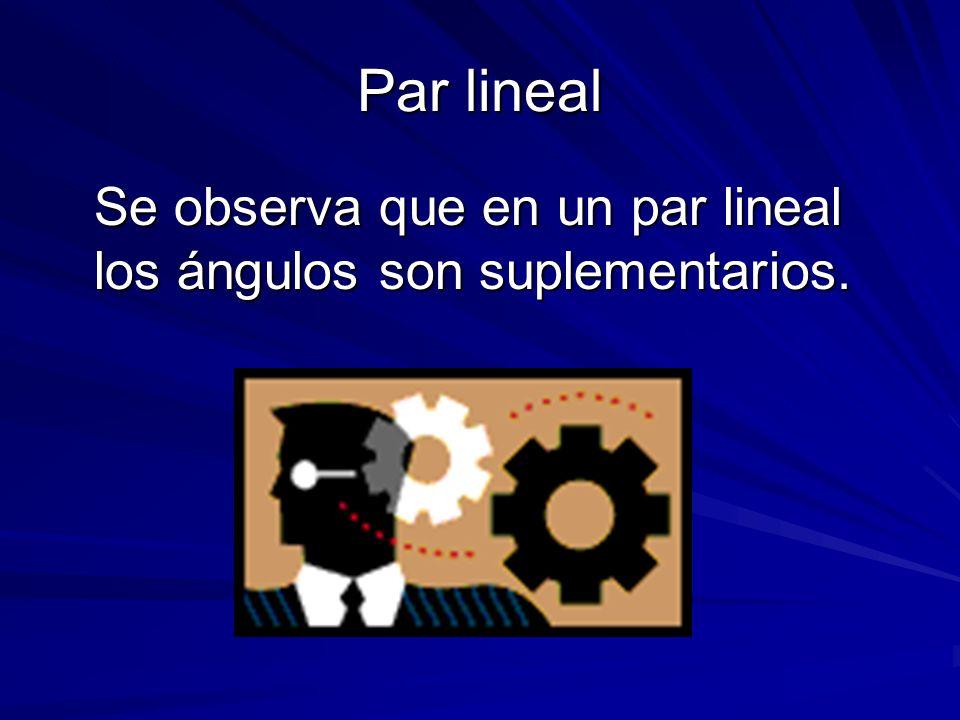 Par lineal Se observa que en un par lineal los ángulos son suplementarios.