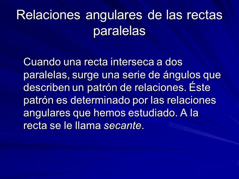 Relaciones angulares de las rectas paralelas