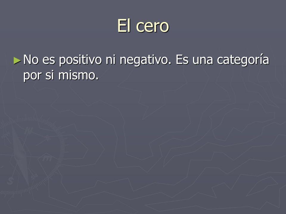 El cero No es positivo ni negativo. Es una categoría por si mismo.