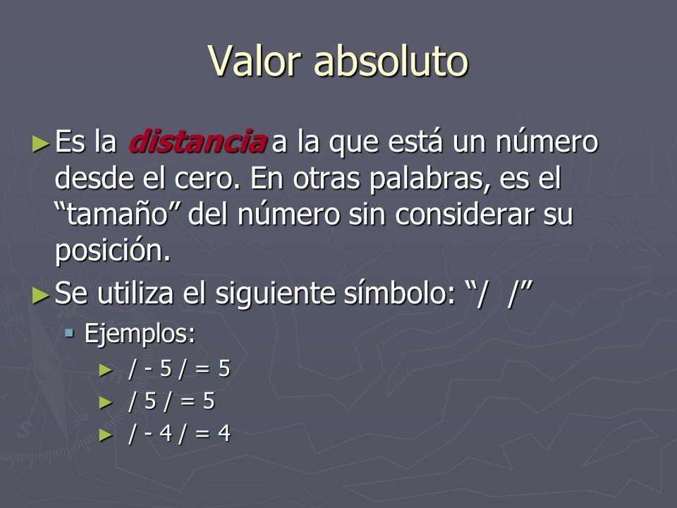Valor absoluto Es la distancia a la que está un número desde el cero. En otras palabras, es el tamaño del número sin considerar su posición.