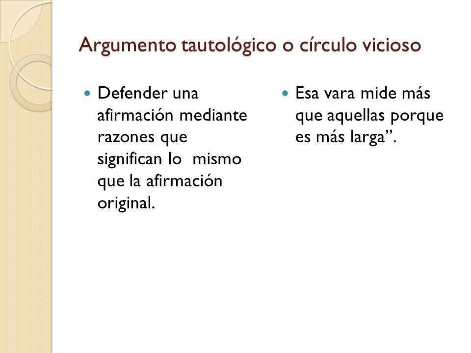 Argumento tautológico o círculo vicioso