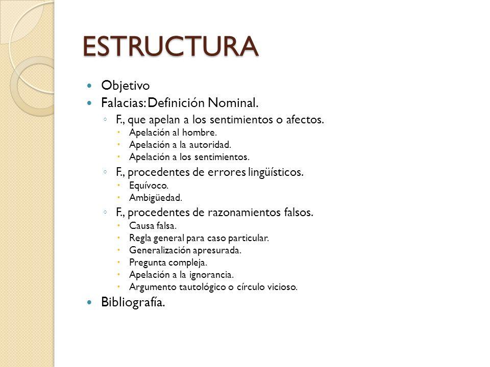 ESTRUCTURA Objetivo Falacias: Definición Nominal. Bibliografía.