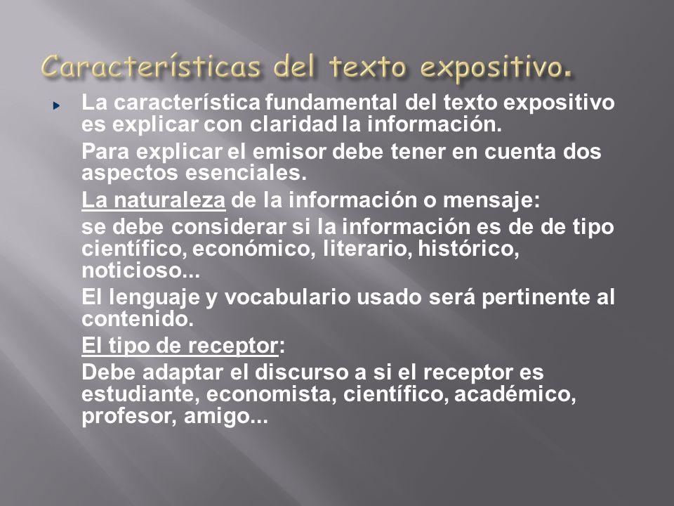 Características del texto expositivo.