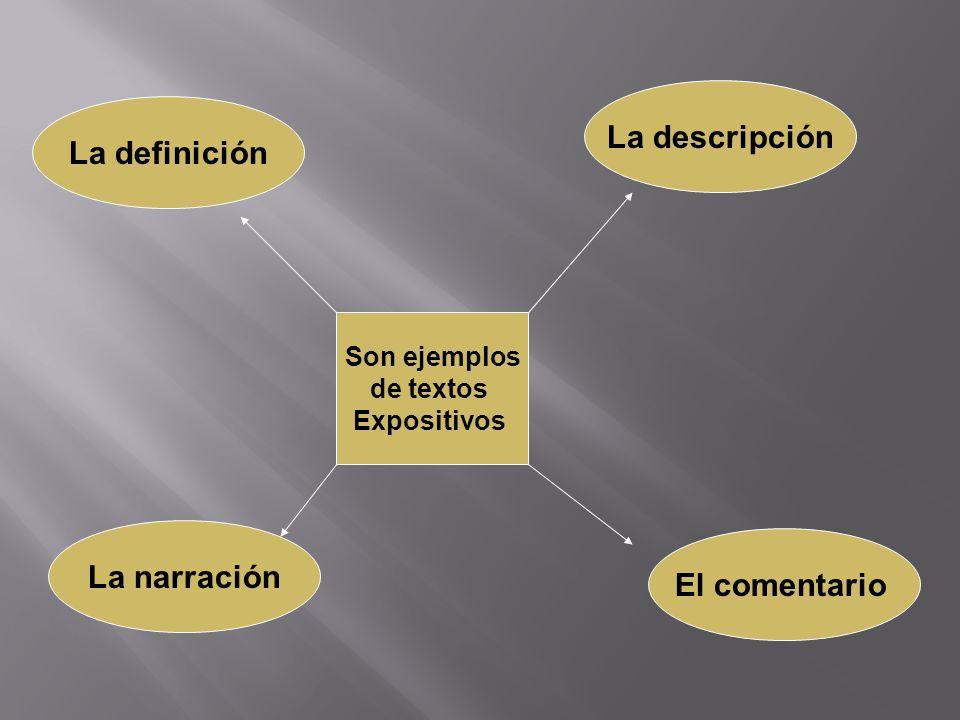 La descripción La definición La narración El comentario