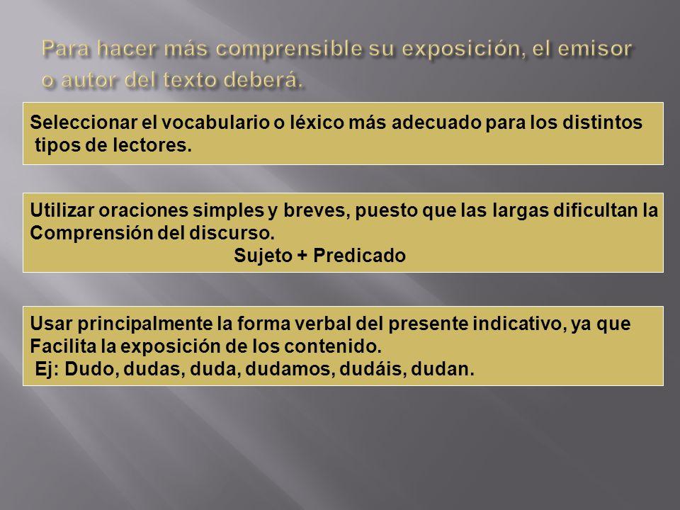 Para hacer más comprensible su exposición, el emisor o autor del texto deberá.
