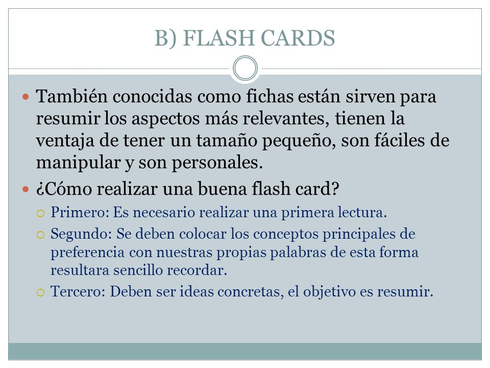 B) FLASH CARDS