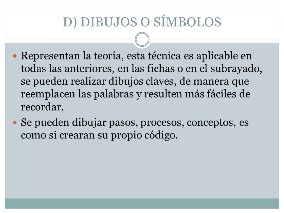 D) DIBUJOS O SÍMBOLOS