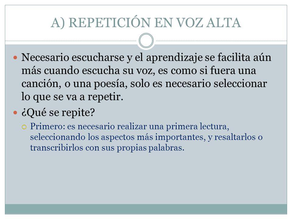 A) REPETICIÓN EN VOZ ALTA