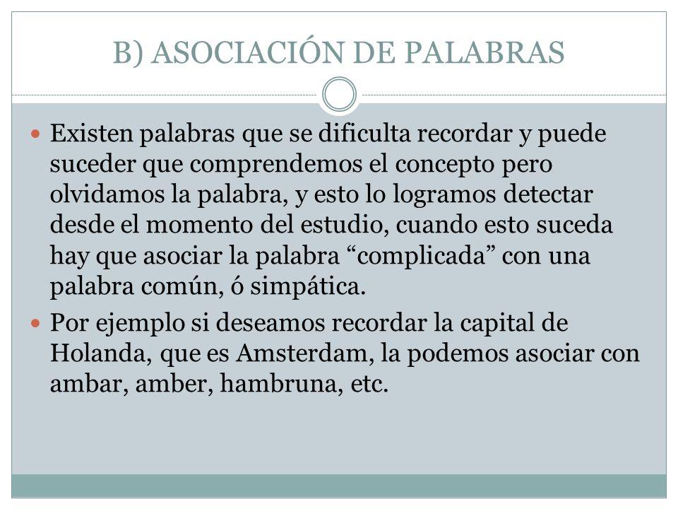 B) ASOCIACIÓN DE PALABRAS