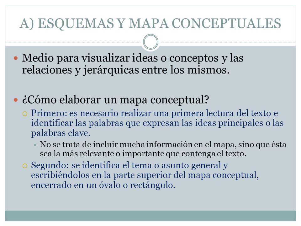 A) ESQUEMAS Y MAPA CONCEPTUALES