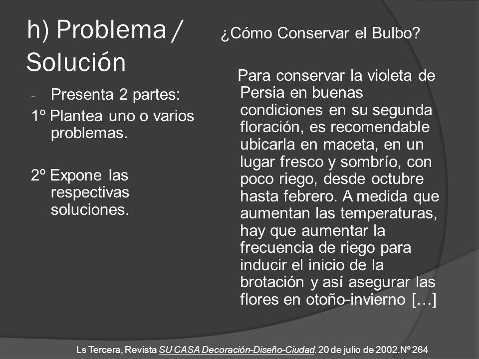 h) Problema / Solución