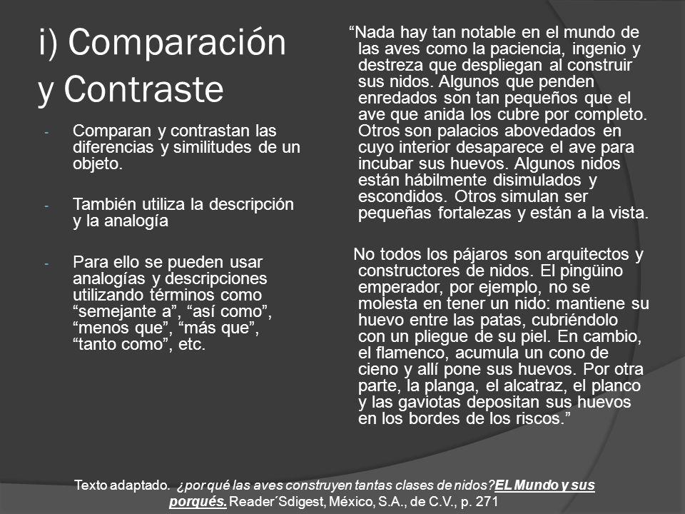 i) Comparación y Contraste