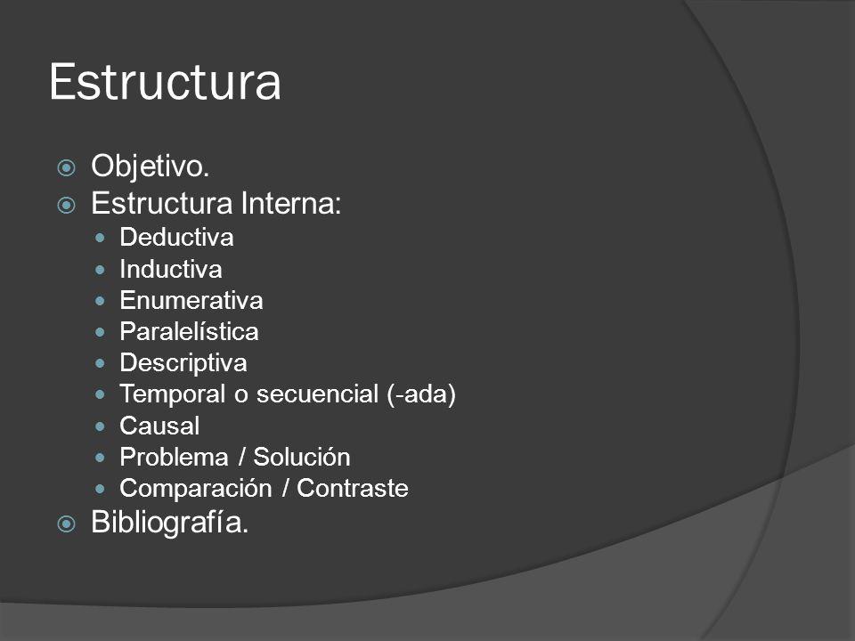 Estructura Objetivo. Estructura Interna: Bibliografía. Deductiva