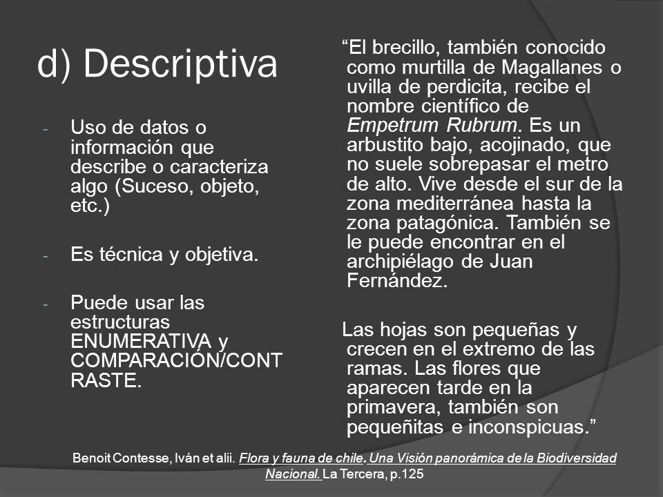 d) Descriptiva