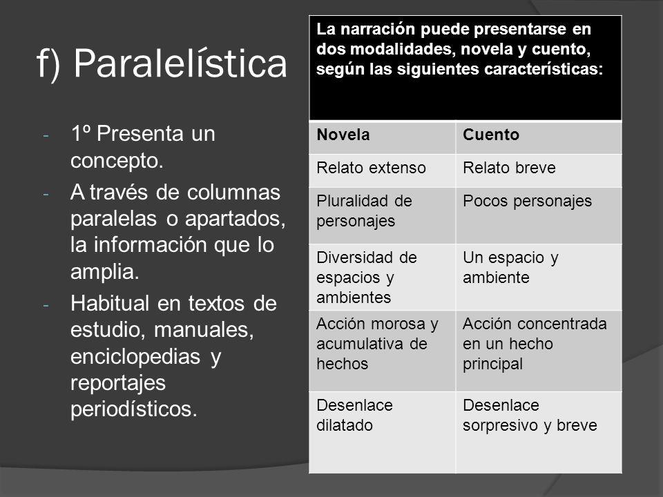 f) Paralelística 1º Presenta un concepto.