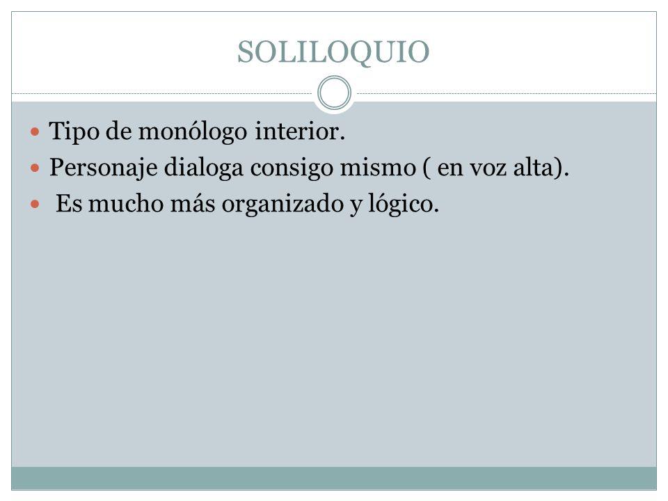 SOLILOQUIO Tipo de monólogo interior.