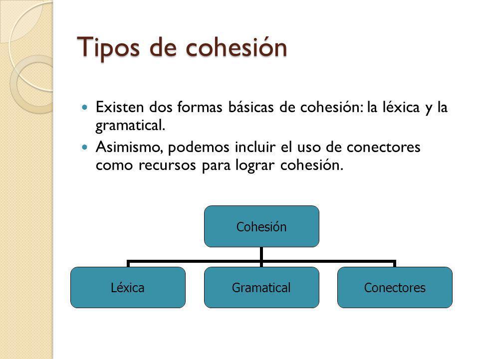 Tipos de cohesión Existen dos formas básicas de cohesión: la léxica y la gramatical.