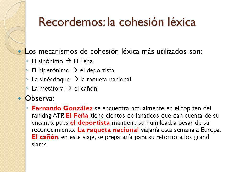 Recordemos: la cohesión léxica
